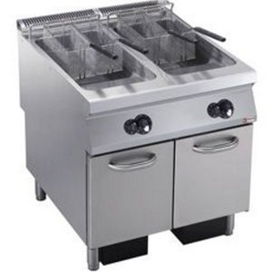 Diamond Gas Fryer | 2 x 23 liters | Exterior Burners | on Cabinet | 800x900x (h) 850 / 920mm
