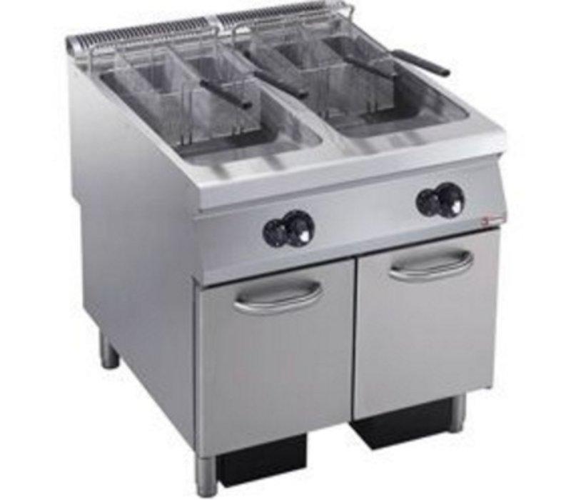 Diamond Gas Fryer | 2 x 23 liters | Exterior Burners | on Cabinet | 800x900x (h) 850 / 920mm