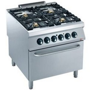 Diamond Gas stove | 4 Burners | 10 and 6kW | Electric Oven | 400V | 800x900x (h) 850 / 920mm