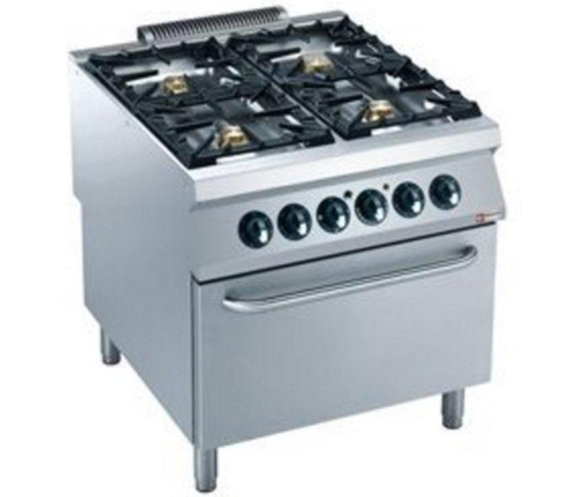 Diamond Gasfornuis | 4 Branders | 10 en 6kW | Elektrische Oven | 400V | 800x900x(h)850/920mm