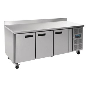 Polar Freeze Workbench stainless steel on wheels - with Splash Ridge - 3 Doors - 417 Liter - 180x70x (h) 96cm