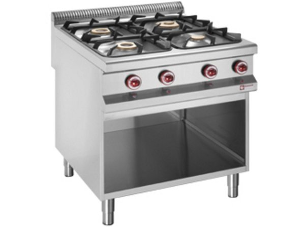 Diamond Gas stove   4 Burners   3.2 and 5.5, and 7kW   Open Cupboard   800x900x (h) 850 / 920mm