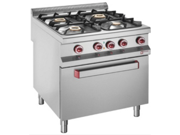 Diamond Gas stove | 4 Burners | 400V | 3.2 and 5.5, and 7kW | Electric Oven | 800x900x (h) 850 / 920mm