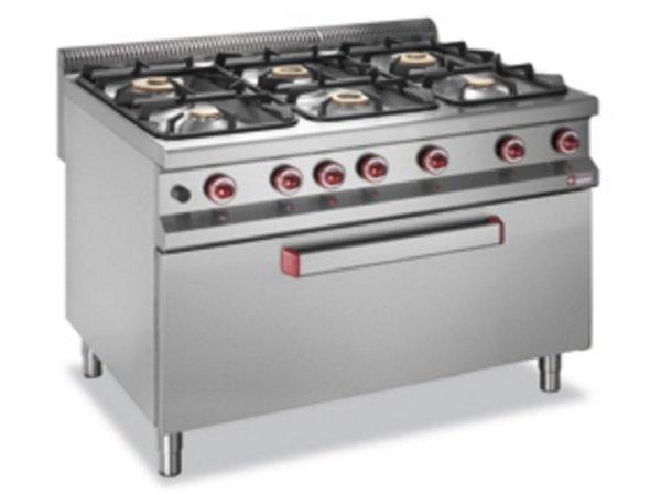 Diamond Gasfornuis   6 Branders   3,2 en 5,5 en 7kW   Gas Oven   Neutrale Kast   1200x900x(h)850/920mm