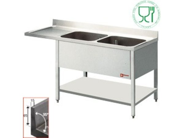 Diamond Sink - two bins - 1400x700x880-900 (h) - drainer left - Space