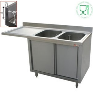 Diamond Sink - 2 buckets - 1600x700x (h) 880-900 - Double Sliding - draining links