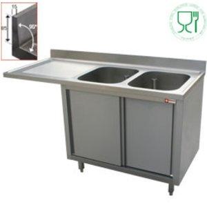 Diamond Sink - 2 Eimer - 1600x700x (h) 880-900 - Doppelschiebe - Trockenlegung Links