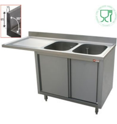 Diamond Sink - 2 Eimer - 1600x700x (h) 880-900 - Doppelschiebe - Trockenlegung Links