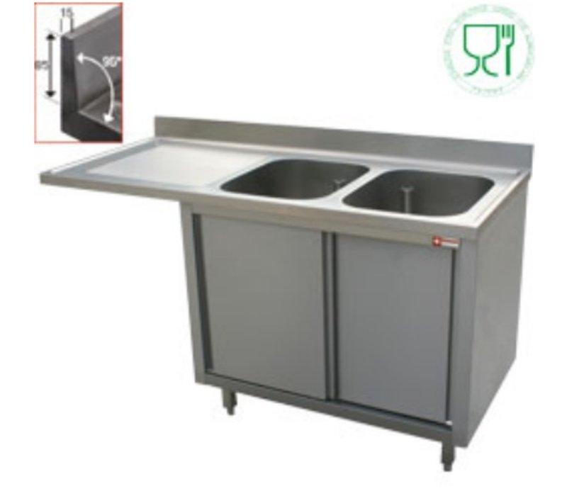 Diamond Sink - 2 buckets - 1600x700x (h) 880-900 - Double Sliding - draining links
