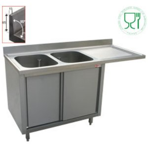 Diamond Sink - two sinks - 1600x700x (h) 880-900 - Double Sliding - draining right