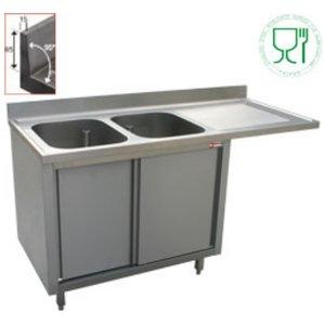 Diamond Sink - zwei Waschbecken - 1600x700x (h) 880-900 - Doppelschiebe - Entleerung rechts