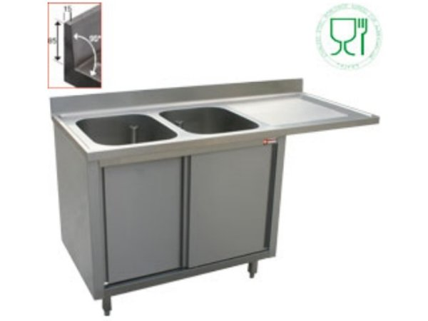 Diamond Sink - two sinks - 1600x700x (h) 880-900 - Double Sliding - draining right