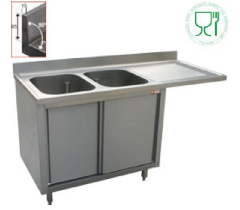 Diamond Sink - 2 buckets - 1800x700x (h) 880-900 - Double Sliding - draining right