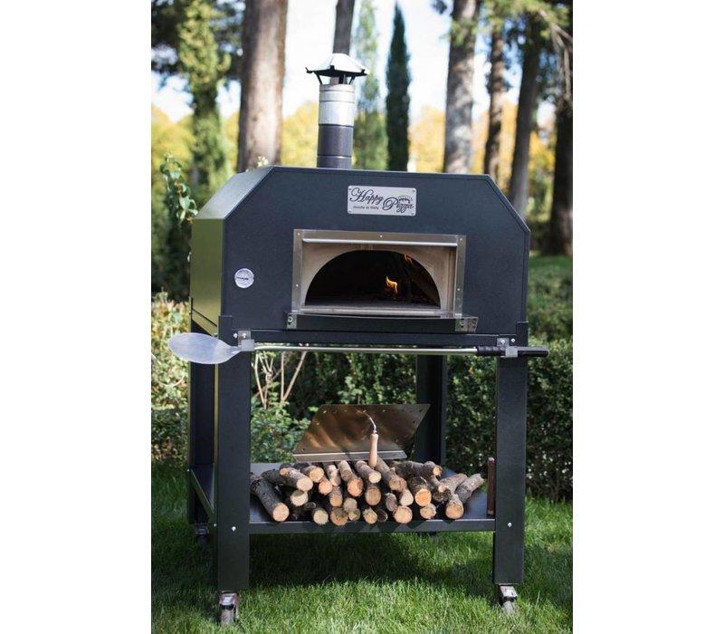 XXLselect Pizza Oven RVS 'Creativo' | Houtskool/Houtgestookt | 5 Pizza's | 500 °C | 1000x1000x(h)2030mm