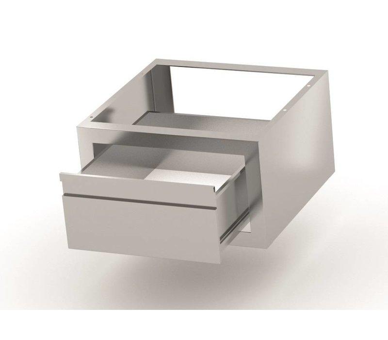 XXLselect Extra-Serviertablett Edelstahl-Werkbank, Schrank, Waschbecken - 2 Größen: 600x400x260 (h) mm / 700x400x260 (h) mm