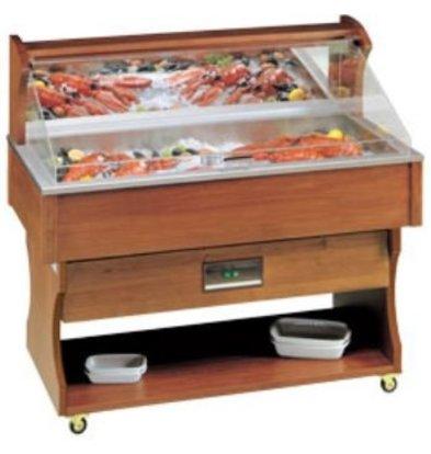 Diamond Mobile Fish Refrigerated display case | Vistoog | Solid Wood | 230V / 790W | 1417x745x1285 / 1605 (h) mm