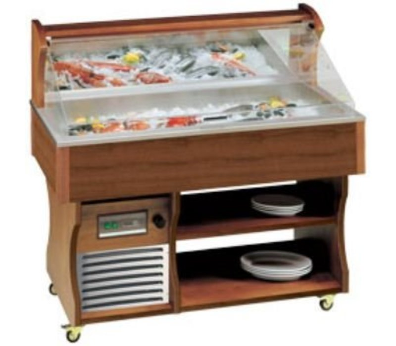Diamond Mobile Fish Refrigerated display case | Vistoog | Solid Wood | -2 ° to 0 ° C | 230V / 480W | 1417x745x1285 / 1605 (h) mm