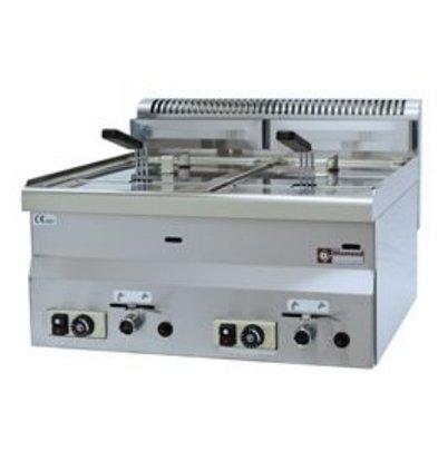 Diamond Gas Fryer | 2x8 Liter | Tischplatte | 13,6 Kw | 600x600x280 / 400 (h) mm