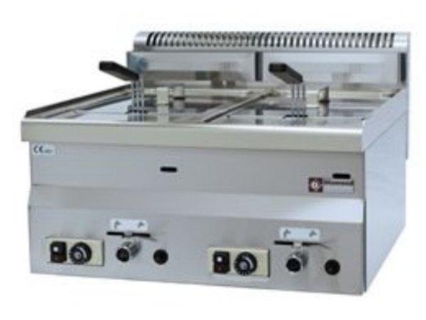 Diamond Friteuse Gas | 2x8 Liter | Tafelmodel | 13,6 Kw | 600x600x280/400(h)mm
