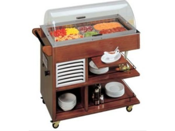 Diamond Refrigerated display case for mobile and Desserts | 10 x GN1 / 6 | Solid Wood | 400W | 1008x555x1066 (h) mm