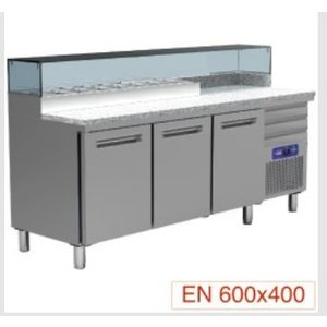 Diamond Pizza Koelwerkbank RVS | 3 Deurs | 3 Laden | 400W/230V | 2110x700x880/900-1200(h)mm