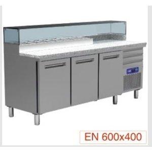 Diamond Refrigerated pizza Workbench SS   3 Doors   3 Loading   400W / 230V   2110x700x880 / 900-1200 (h) mm