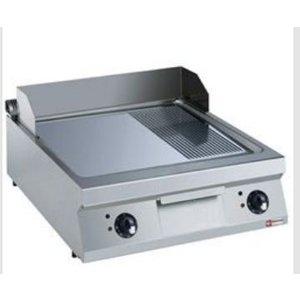 Diamond Bakplaat Elektrisch RVS   2/3 Glad en 1/3 Geribd   Verchroomde Plaat   400V/15kW   800x900x250/320(h)mm
