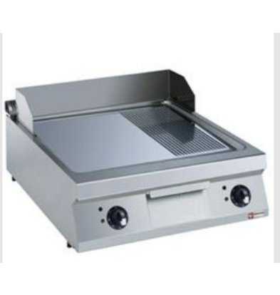 Diamond Fry Top Electric SS | Smooth 2/3 and 1/3 Ribbed | Chromed Plate | 400V / 15kW | 800x900x250 / 320 (h) mm