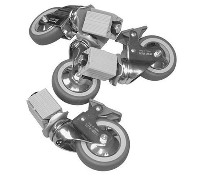 XXLselect Castor XXL six wheels - for all Worktables, Cabinets, Sinks - INCLUDING MOUNTING - ø125mm