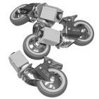 XXLselect Wielenset XXL 4 Wielen - voor alle RVS Werktafels, Kasten, Spoeltafels - INCLUSIEF MONTAGE - ø125mm