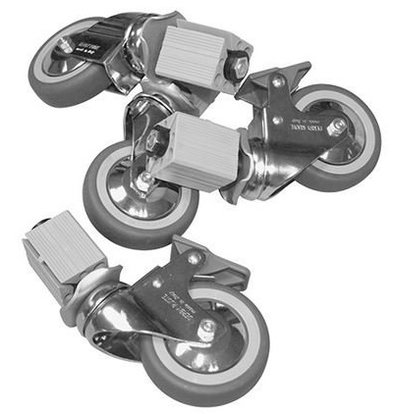 XXLselect Castor 4 Wheels - for all Worktables, Cabinets, Sinks - INCLUDING MOUNTING - ø125mm