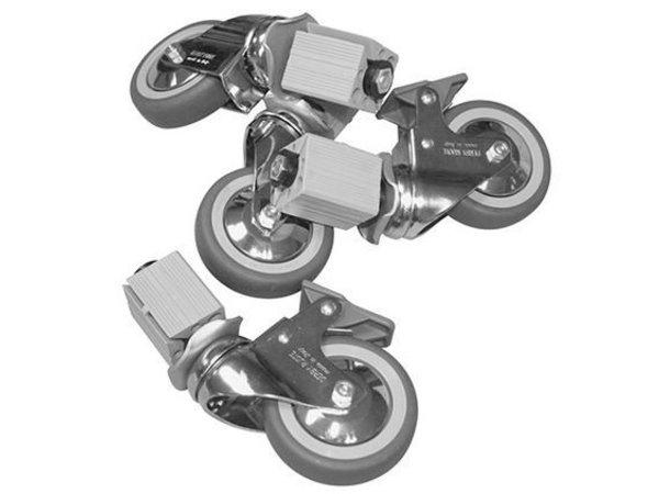 XXLselect Castor 4 Räder - für alle Arbeitstische, Schränke, Spülen - inklusive Montage - Ø125mm
