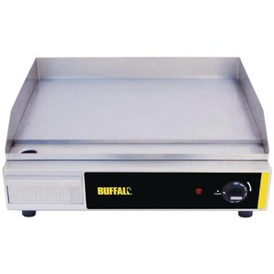 Buffalo Smooth stainless steel griddle - 52x47x (h) 20cm - temp 60-300C - Plug-+ Removable Drip - 2.2kW - HEAVY DUTY