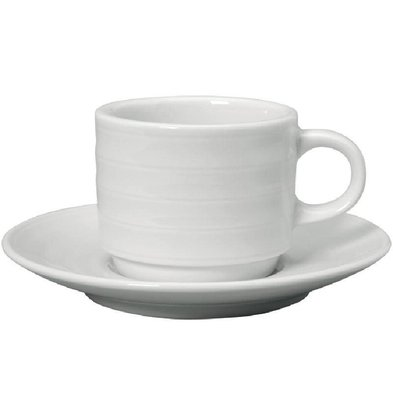XXLselect Espressokopje + Schotel | Intenzzo | Wit Porselein | 110ml | Per 4 Stuks