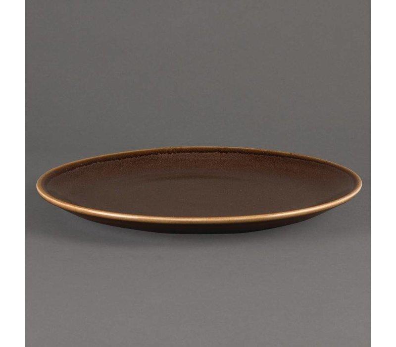 "XXLselect Coupebord ""Kiln""| Bruin Porselein | Ø280mm | Per 4 Stuks"