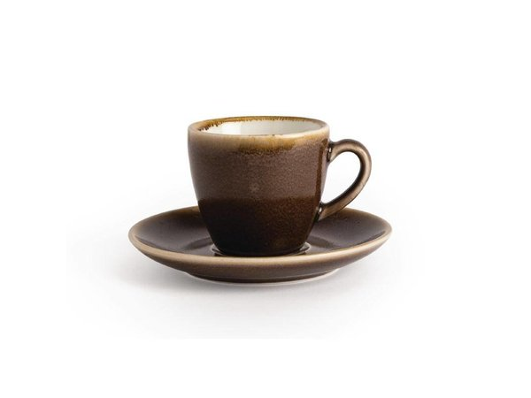 "XXLselect Espresso Schoteltje ""Kiln"" | Bruin Porselein | Ø115mm | Per 6 Stuks"