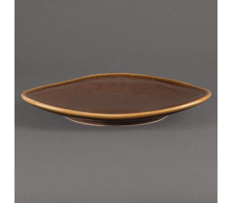 "XXLselect Driehoekig Bord ""Kiln"" | Bruin Porselein | Ø280mm | Per 4 Stuks"