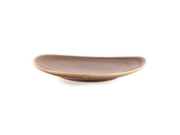 "XXLselect Driehoekig Bord ""Kiln"" | Bruin Porselein | Ø165mm | Per 6 Stuks"