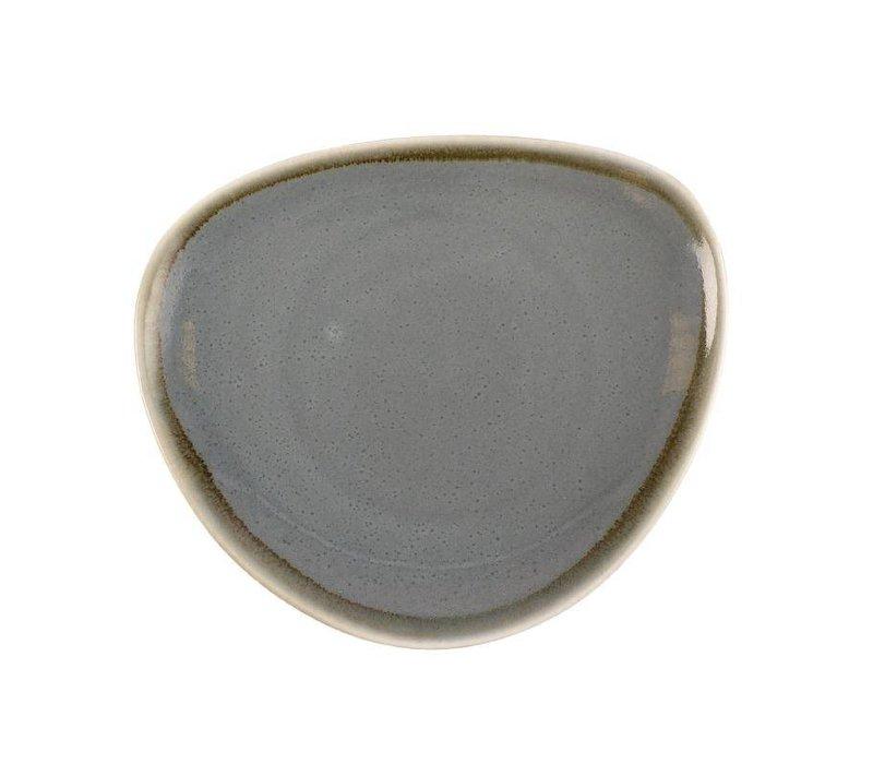 "XXLselect Driehoekig Bord ""Kiln""   Blauw Porselein   Ø165mm   Per 6 Stuks"