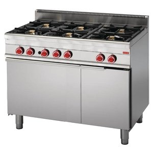 XXLselect Stove 6 Pits + Gas Oven | SS | 30,8kW | 650x1100x850 (h) mm