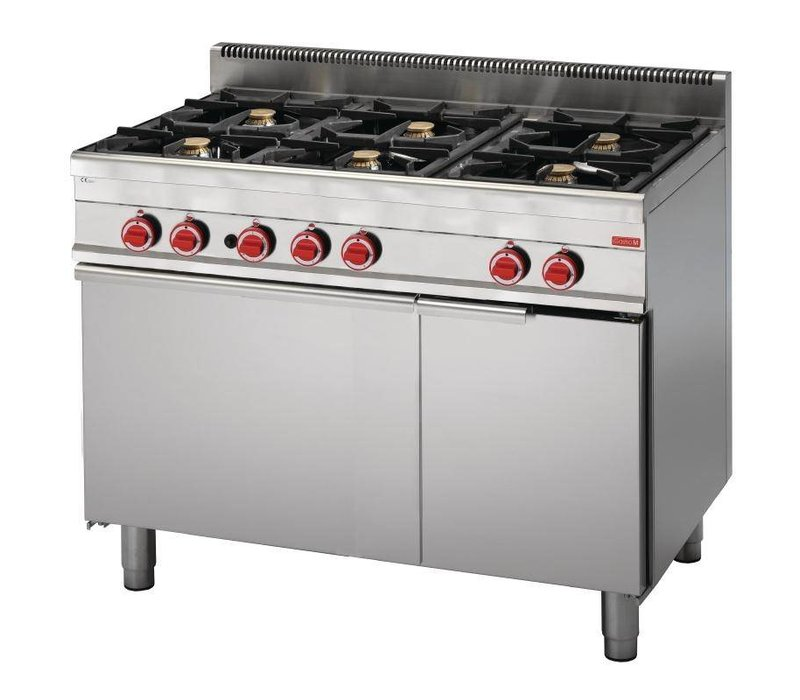 XXLselect Gasfornuis 6 Pits + Gas Oven | RVS | 30,8kW | 650x1100x850(h)mm