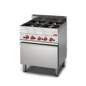XXLselect Stove 4 Burners + Gas Oven | SS | 22,2kW | 650x700x850 (h) mm