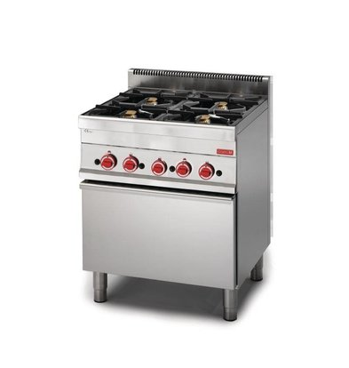 XXLselect Gasfornuis 4 Pits + Gas Oven | RVS | 22,2kW | 650x700x850(h)mm