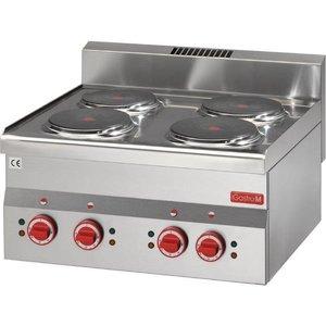XXLselect Kookplaat Elektrisch | 4x Ø220mm | 6kW/400V | 600x600x280(h)mm