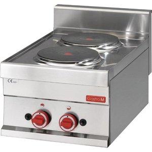 XXLselect Kookplaat Elektrisch | 2x Ø220mm | 3kW/400V | 300x600x280(h)mm