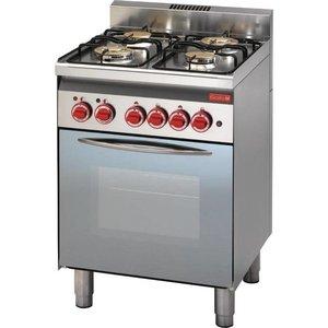 XXLselect Gasfornuis 4 Pits + Elektrische Oven + Grill | 14,7kW/230V | 600x600x850(h)mm