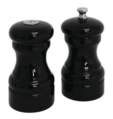 XXLselect Pepermolen en Zoutstrooier | Zwarte Kleur | Hout | Ø50x100(h)mm