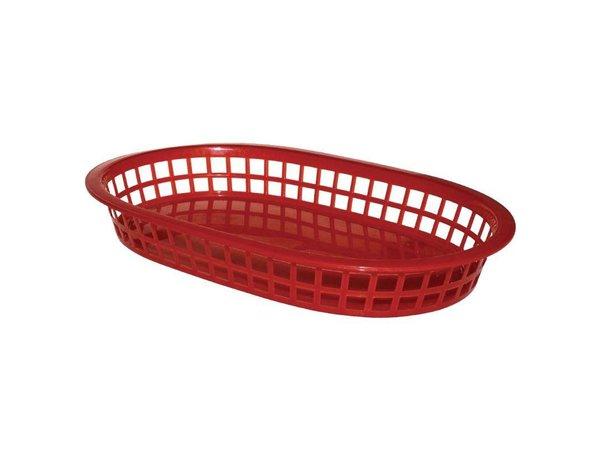 XXLselect Tafelmandje Ovaal | Rood Polypropyleen | 275x175x40(h)mm | Verpakt per 6