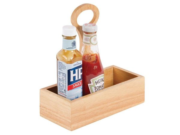 XXLselect Condiment Holder with Handle | Heveahout | 230 (b) x100 (d) x240 (H) mm