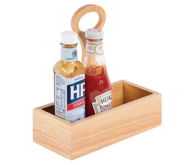 XXLselect Condimenthouder met Handvat | Heveahout | 230(b)x100(d)x240(h)mm